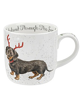 Wrendale Dachshund through the Snow Mug