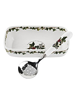 Holly & Ivy Cranberry Dish&Slotted Spoon