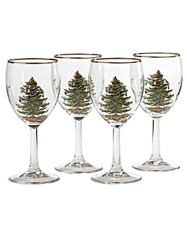 Christmas Tree Wine Glass S/4