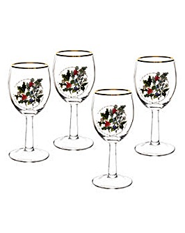 Holly & Ivy Wine Glass S/4
