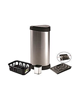 Curver 40L Touch Top Bin Bundle - Silver