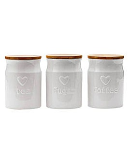 3 White Heart Ceramic Storage Jars