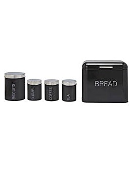 5 Piece Kitchen Storage Set - Jet Black.