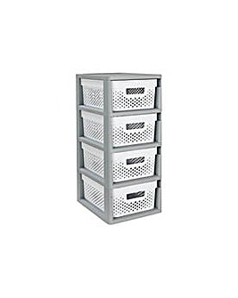 Curver 4 Drawer Storage - Grey/White