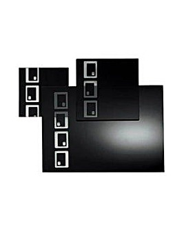 10 Piece Black Oblong Glass Placemat Set