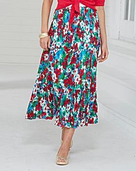 Print Longline Crinkle Skirt 32in