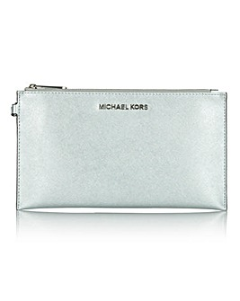 Michael Kors Large Silver Zip Clutch