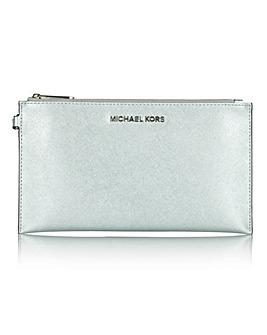 Michael Kors Large Silver Zip Clutch