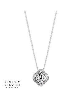 Simply Silver Halo Pendant Necklace