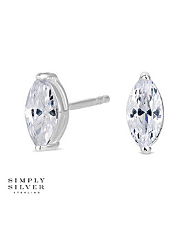Simply Silver Marquise Stud Earring