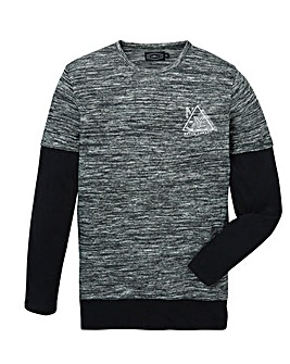 Label J Long Sleeve Textured Layered Tee