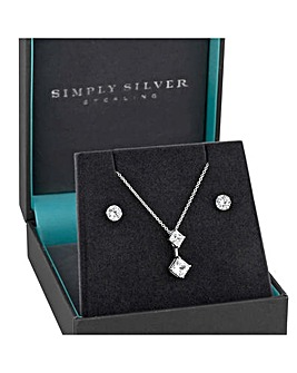 Simply Silver Square Drop Jewellery Set