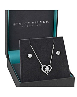 Simply Silver Floral Heart Jewellery Set