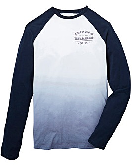 Label J Long Sleeve Dip Dye Baseball Tee