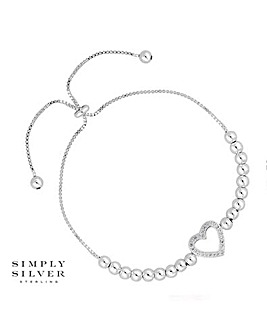 Simply Silver Heart Bead Toggle Bracelet