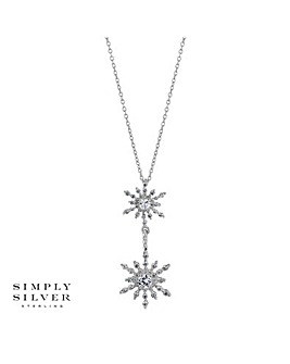 Simply Silver Snowflake Lariat Necklace