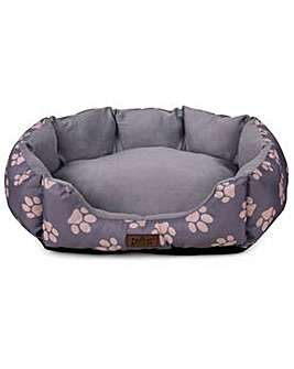 King Pets Value Paw Print Large Oval Bed