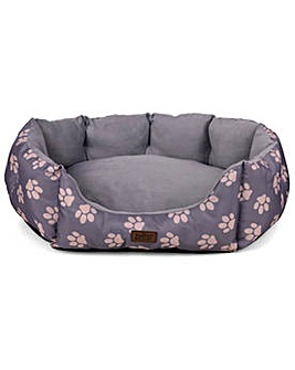 King Pets Paw Print Oval Grey Bed Small