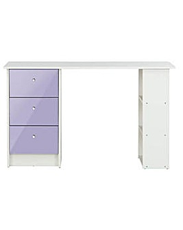 New Malibu Gloss 3 Drawer Desk - Lilac.
