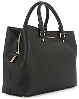 Michael Kors Large Black Leather Satchel