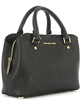Michael Kors Black Leather Satchel Bag