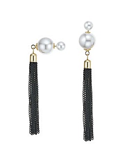 Mood Pearl tassel front and back earring