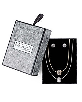 Mood pave ball necklace and earring set