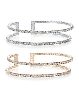 Mood Multi tone crystal bangle set