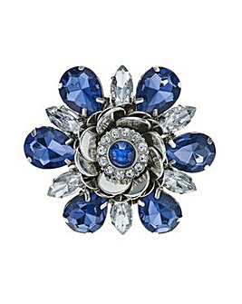 Mood Blue crystal flower brooch