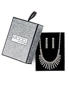 Mood Gold fan necklace and earring set