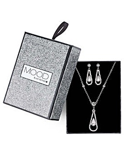 Mood teardrop necklace and earring set