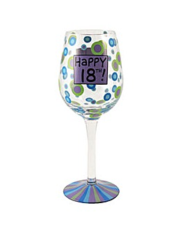 18th Birthday Wine Glass