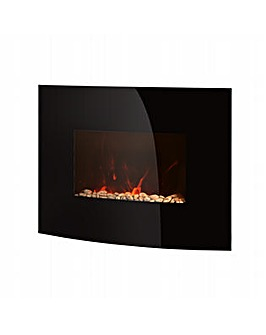 Warmlite Black Curved Glass Wall Fire