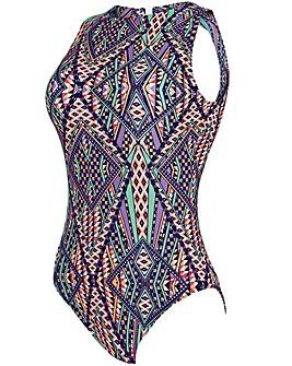 Zoggs Modern Aztec Hi Front Swimsuit
