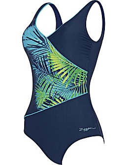 Zoggs Palm Springs Wrap Front Swimsuit