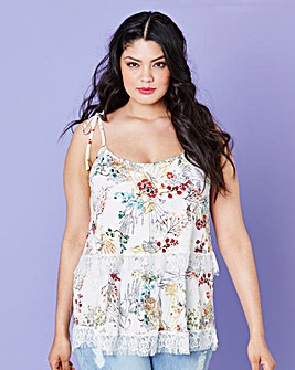 Simply Be Print Lace Trim Layered Cami