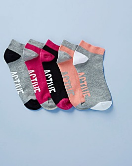 Five Pack Active Pink Trainer Socks