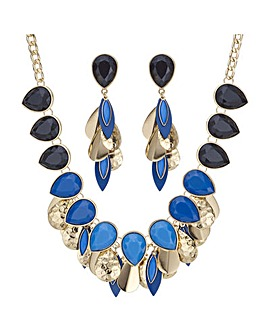 Mood tonal blue peardrop jewellery set