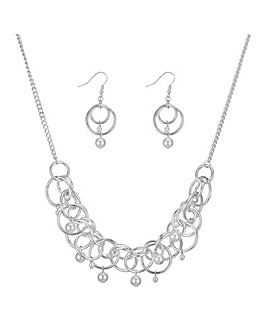 Mood circle link pearl jewellery set
