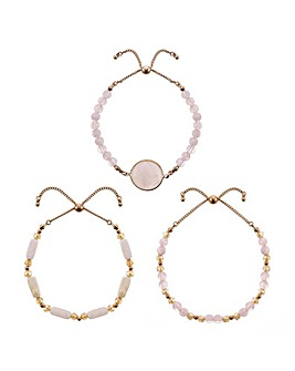 Mood pink stone bracelet set