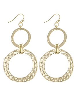 Mood gold textured circle earring