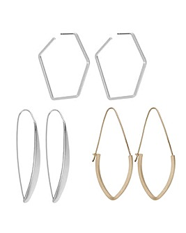 Mood geometric hoop earring set