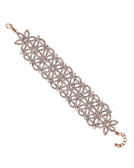 Mood rose gold floral diamante bracelet