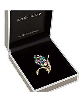 Jon Richard multi colour leaf brooch