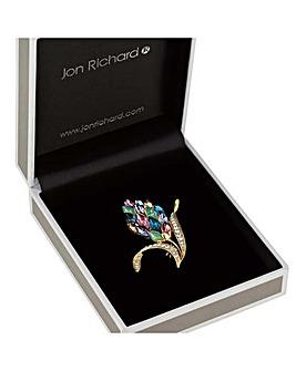 Jon Richard multi colour leaf brooch