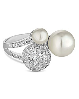Jon Richard pave and pearl ring