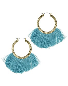 Mood fringed hoop statement earring