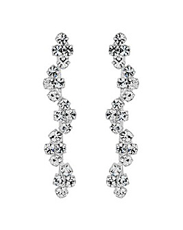 Jon Richard silver diamante wave earring