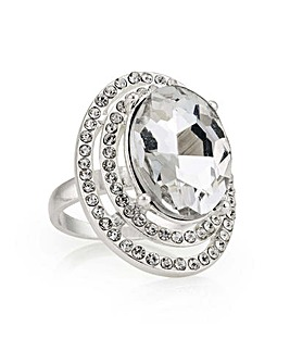 Mood silver oval statement ring