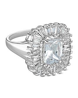 Jon Richard silver baguette ring